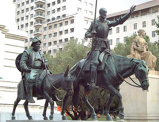 Monument voor Cervantes in Madrid. Don Quixote en Sancho Panza